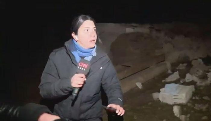 CNN Türk muhabiri Fulya Öztürk'ün depreme yakalanması